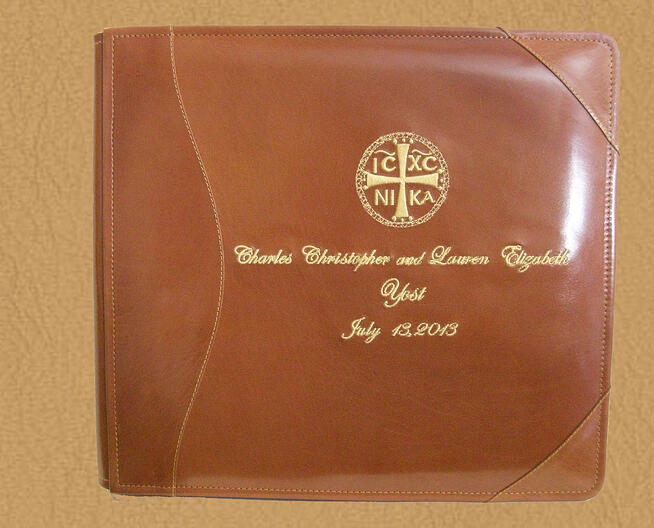 personalized leather wedding guest book