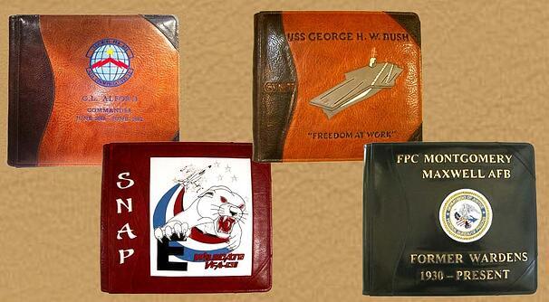 leather military album books